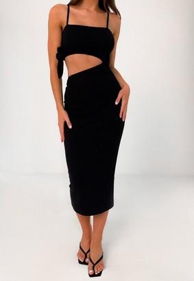 Missguided Black Rib Cut Out Midi Dress