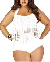 Kisstyle Women's Plus Size Retro Tassel High Waist Two Piece Bikini Swimwear