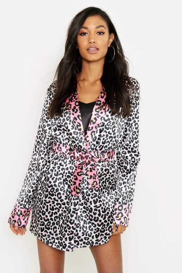 boohoo Contrast Leopard Satin Gown
