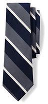 Lands' End Men's Long Silk Cotton Mogador Wide Stripe Necktie-Northern Sky Stripe