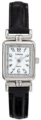 Timex Carriage By Women's Square Case with Silver Dial and Black Leather Strap - Silver/Black