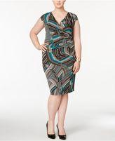 Kasper Plus Size Zigzag Swirls Wrap Dress