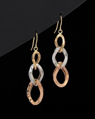 Italian Gold 14K Tri-Tone Graduated Triple Twist Oval Dangle Earrings