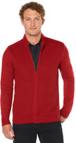 Perry Ellis Textured Full Zip Sweater