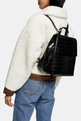 Topshop ELLIS Black Crocodile Backpack