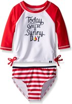 Nautica Little Girls' Rashguard Set with Stripe Bottom