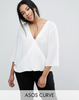 Asos Wrap V Neck Blouse With Fluted Sleeves