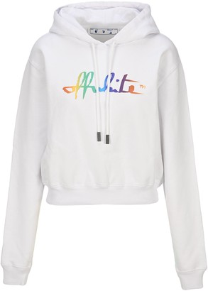 Off-White Rainbow Script Logo Cropped Hoodie