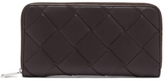Bottega Veneta Intrecciato Woven-leather Wallet - Womens - Brown