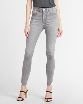 Express High Waisted Denim Perfect Ripped Hem Skinny Jeans
