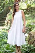 Sleeveless Knee-length Cotton Dress from Bali, 'Cool White'