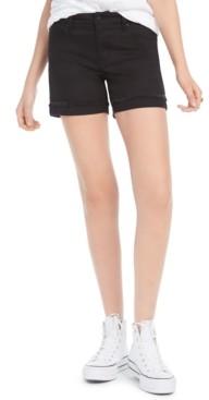 Celebrity Pink Juniors' High-Rise Cuffed Black Denim Shorts