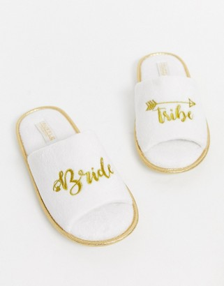 Truffle Collection bride party slippers-White