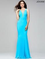Jovani Sleeveless V-Neck Jersey Sheath Dress 28548
