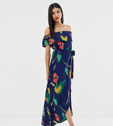 Influence Tall off shoulder maxi dress in navy floral
