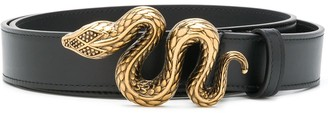 Roberto Cavalli Snake-Buckle Leather Belt