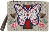 Gucci Embellished Butterfly Gg Supreme Pouch