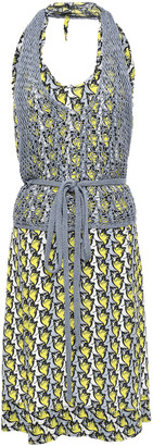 M Missoni Layered Crocheted And Crepe De Chine Halterneck Dress