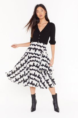 Nasty Gal Womens Bold Moves Abstract Midi Skirt - white - 4