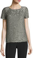 MLV Short-Sleeve Sequined Top, Dove Gray