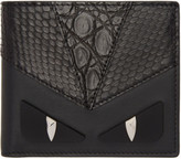 Fendi Black Snakeskin bag Bugs Wallet