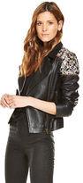 Very Embellished Leather Jacket in Black Size 12