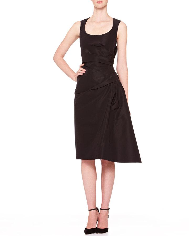 Carolina Herrera Side-Gathered Taffeta Dress, Black