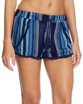 Surf Gypsy Stripe Split Leg Swim Cover-Up Shorts