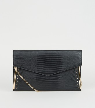 New Look Faux Snake Studded Metal Bar Clutch