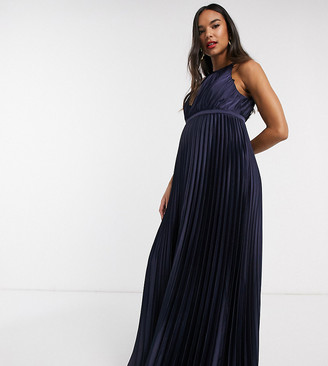 Chi Chi London Maternity high neck satin maxi dress in navy