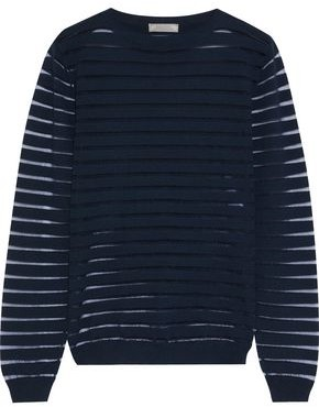 Nina Ricci Mesh-trimmed Knitted Sweater