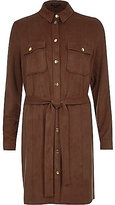 River Island Womens Brown faux suede shirt dress