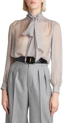 Saint Laurent Sheer Tie-Neck Silk Blouse