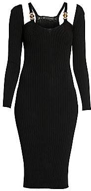 Versace Women's Ribbed Cold-Shoulder Cutout Dress