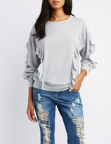 Charlotte Russe Ruffle-Trim Pullover Sweatshirt