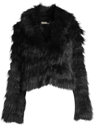 Alice + Olivia Nadia Tiered Hooded Rabbit Fur Coat