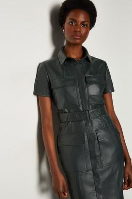 Karen Millen Leather Pocket Front Dress