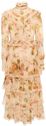 Zimmermann Resistance Tiered Floral-print Silk-gauze Midi Dress