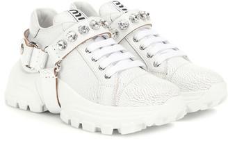 Miu Miu Embellished leather sneakers