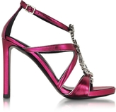 Roberto Cavalli Tassel Raspberry Metallic Leather Sandal