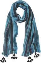 Joe Fresh Women's Stripe Tassel Scarf, Teal (Size O/S)
