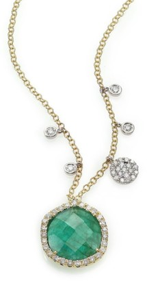 Meira T Emerald, Diamond & 14K Yellow Gold Pendant Necklace