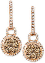 LeVian Le Vian Chocolate and White Diamond Circle Drop Earrings (1 ct. t.w.) in 14k Rose Gold