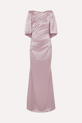 Talbot Runhof Lobata Cape-effect Metallic Satin Gown - Baby pink