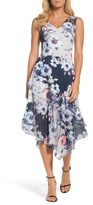 Komarov Women's Floral Asymmetric Hem Dress