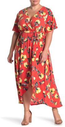WEST KEI Floral Print High/Low Dress (Plus Size)