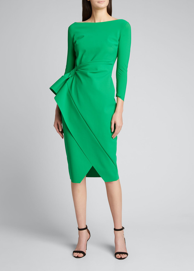 Chiara Boni Boat-Neck 3/4-Sleeve Mock-Wrap Dress