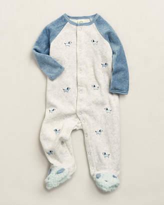 Little Me Newborn Boys) Blue Puppy Velour Footie