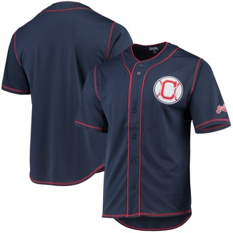 Stitches Cleveland Indians Team Color Button-Down Jersey Navy/Red