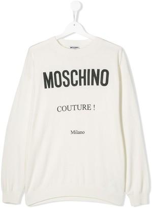 Moschino Kids TEEN logo print knitted top